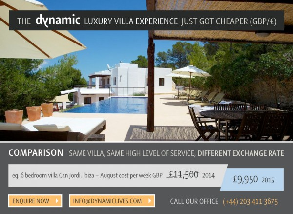 Take Advantage of Exchange Rate to book your 2015 Ibiza Villa